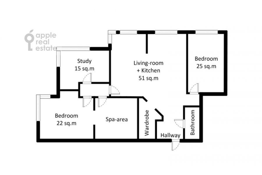 Floor plan of the 4-room apartment at Marshala Koneva 14