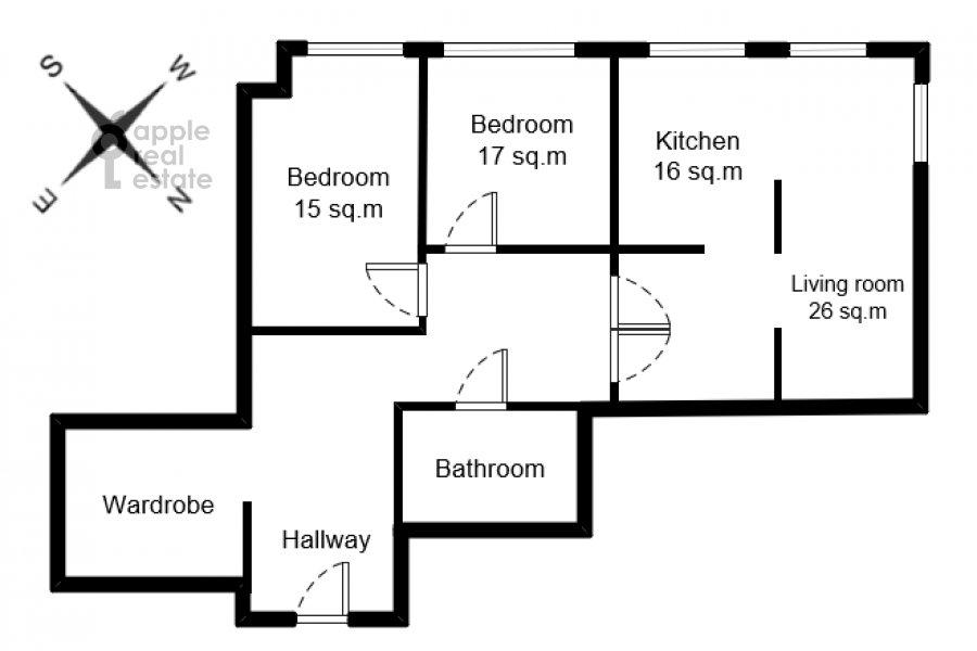 Поэтажный план 3-комнатной квартиры по адресу бульвар Маршала Рокоссовского 6к1г
