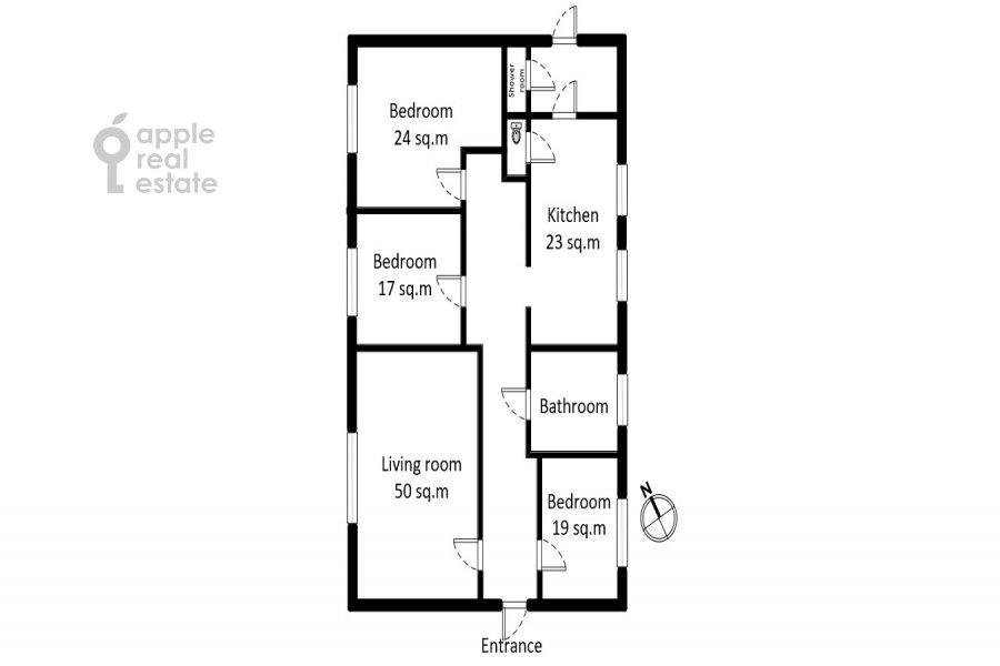 Поэтажный план 4-комнатной квартиры по адресу Сретенский бульвар 6/1 стр.2
