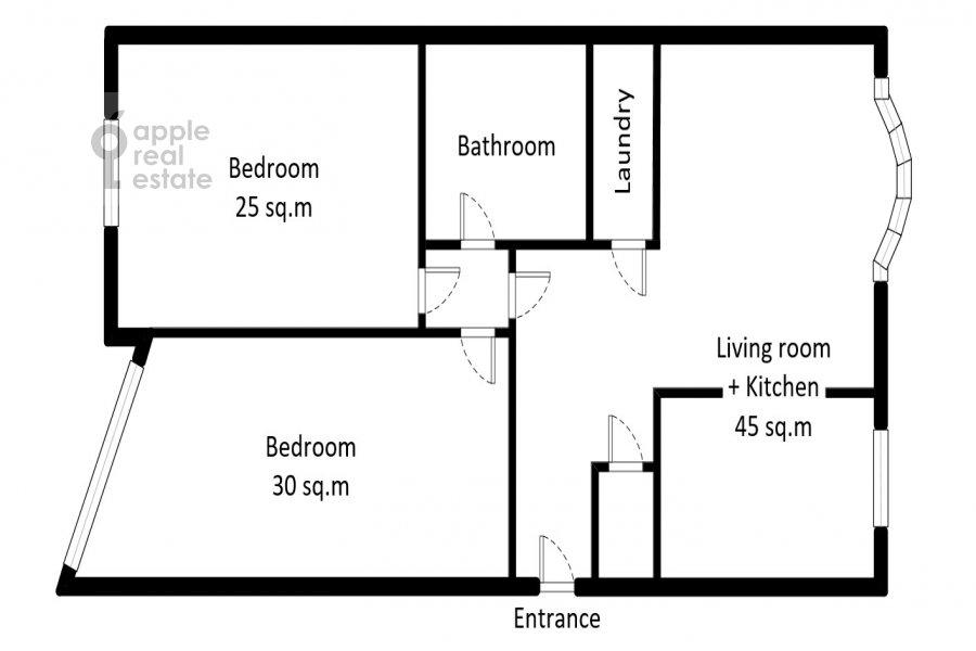 Поэтажный план 3-комнатной квартиры по адресу Протопоповский пер., 17С3