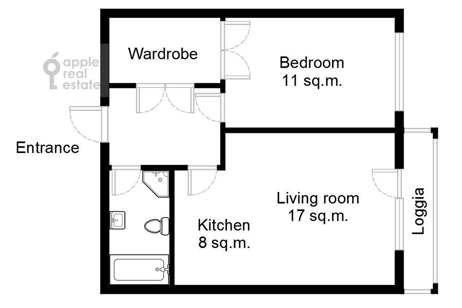 Поэтажный план 2-комнатной квартиры по адресу Верхняя Красносельская улица 19с2