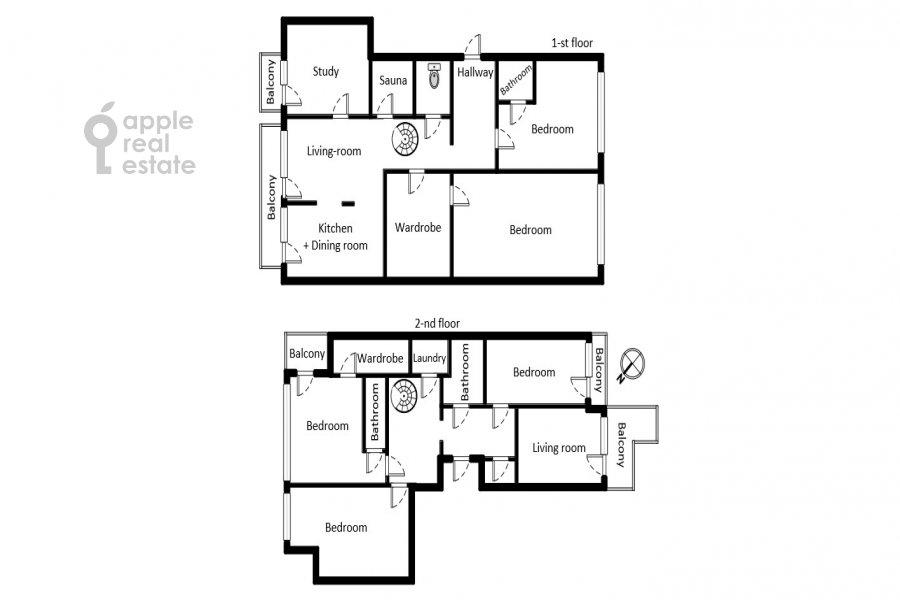 Floor plan of the 6-room apartment at Trubnaya ploshiad' 2