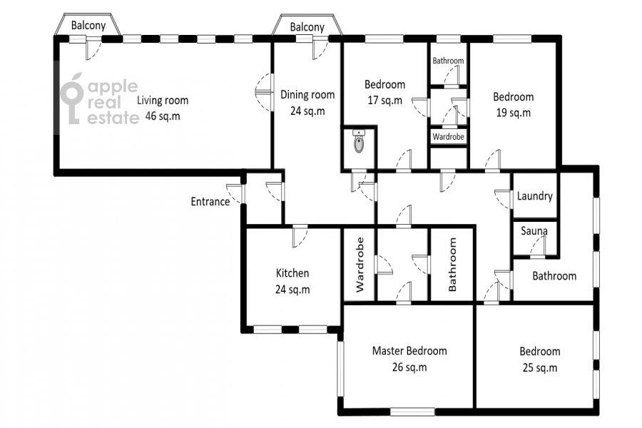 Floor plan of the 6-room apartment at Myasnitskaya ulitsa 15