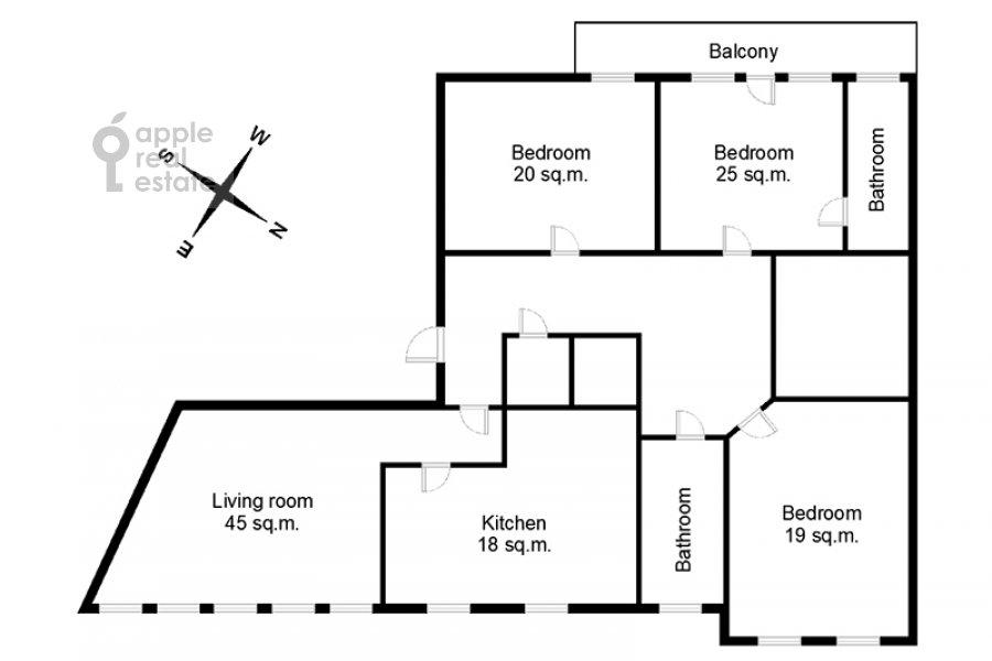 Floor plan of the 4-room apartment at Ermolaevskiy pereulok 5s1