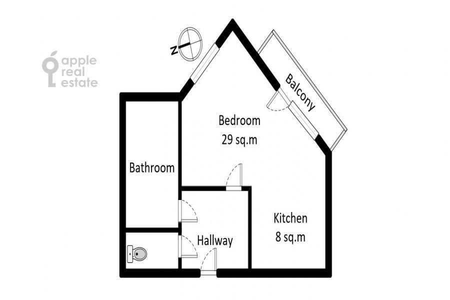 Floor plan of the studio apartment at Botanicheskiy pereulok 5