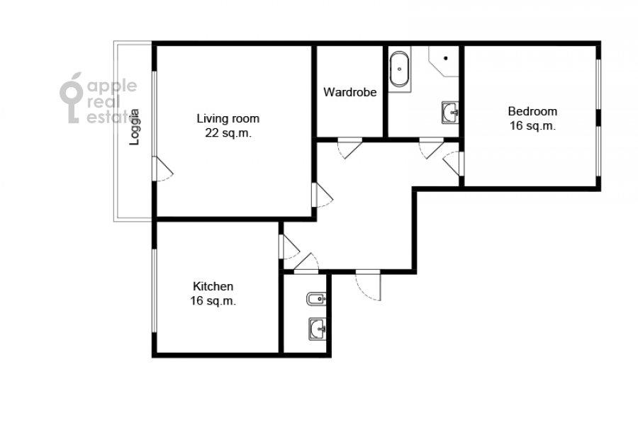Floor plan of the 2-room apartment at El'dara Ryazanova 2