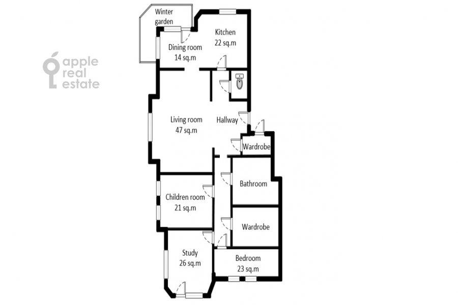 Поэтажный план 4-комнатной квартиры по адресу Бахрушина 19С2
