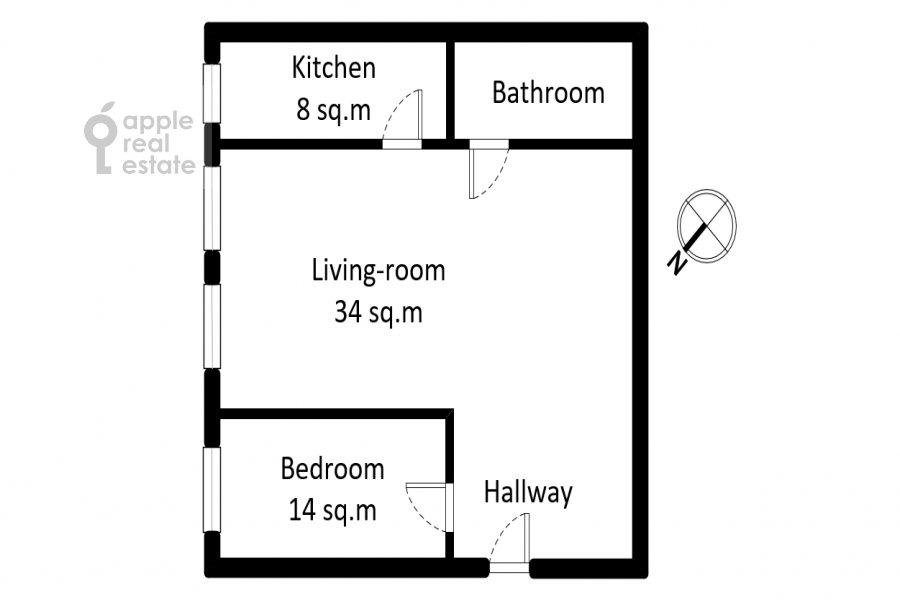 Floor plan of the 2-room apartment at Malyy Kakovinskiy pereulok 3