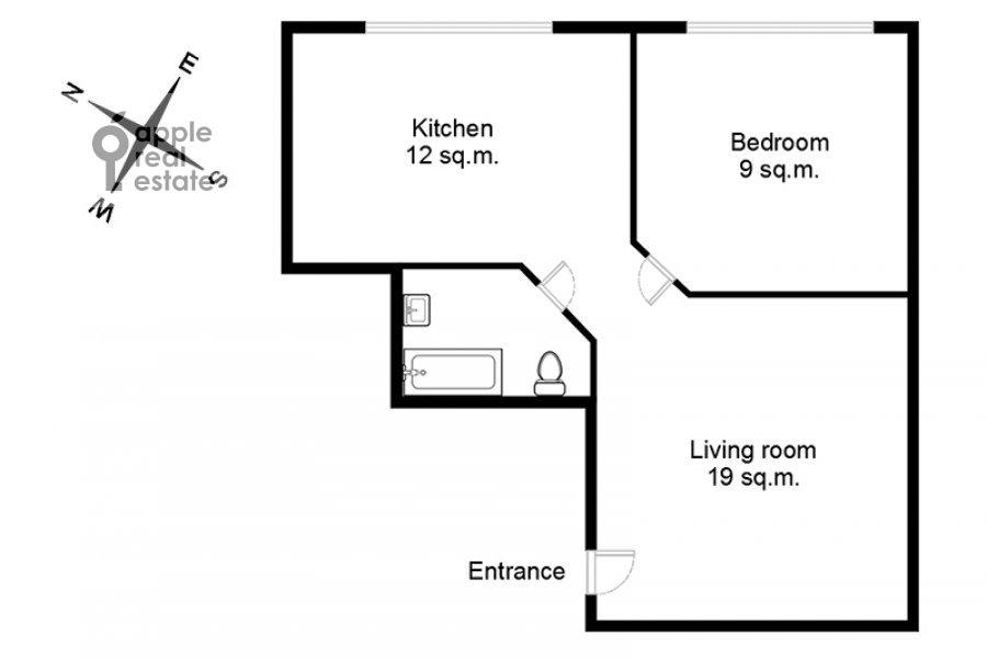 Поэтажный план 2-комнатной квартиры по адресу Хорошевское шоссе 16к2