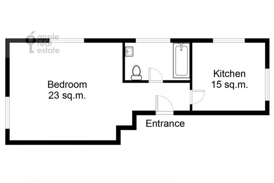 Поэтажный план 1-комнатной квартиры по адресу Новый Арбат 31/12