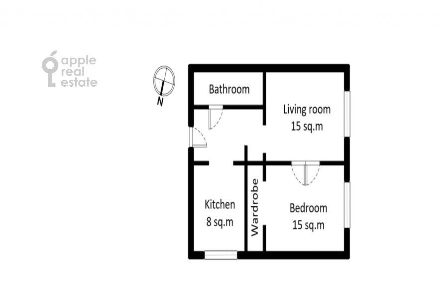 Floor plan of the 2-room apartment at Kutuzovskiy prospekt 25