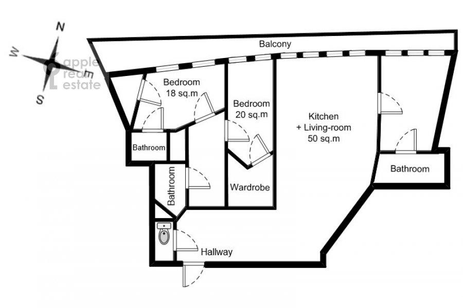 Floor plan of the 4-room apartment at 7-y Rostovskiy pereulok 15