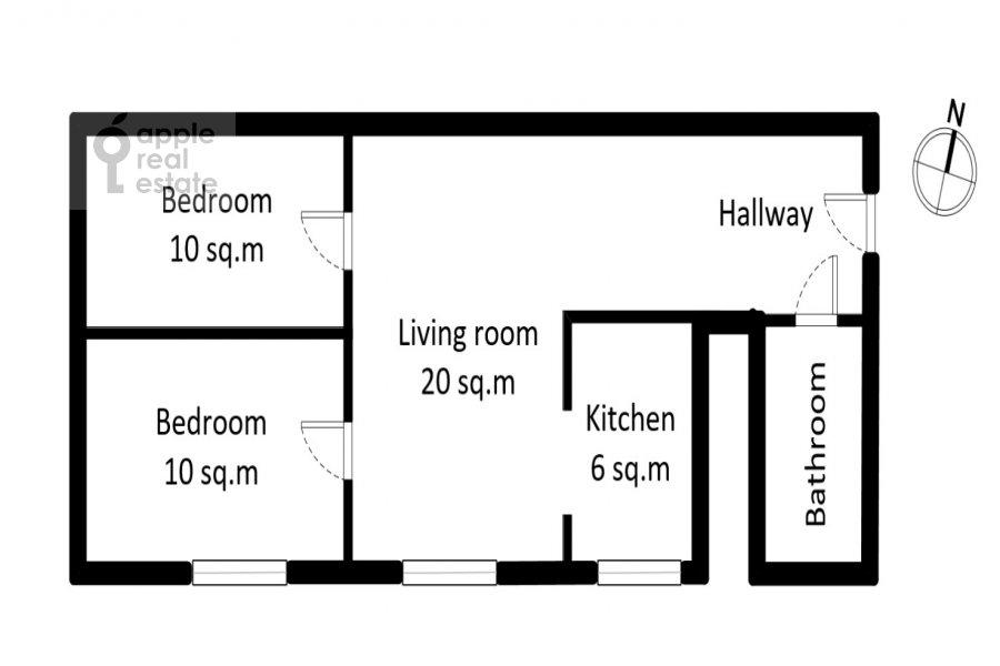 Floor plan of the 3-room apartment at Zemlyanoy Val 23s1