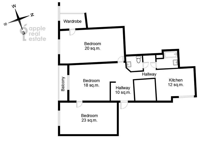 Floor plan of the 3-room apartment at 1-ya Tverskaya-Yamskaya ulitsa 36str2