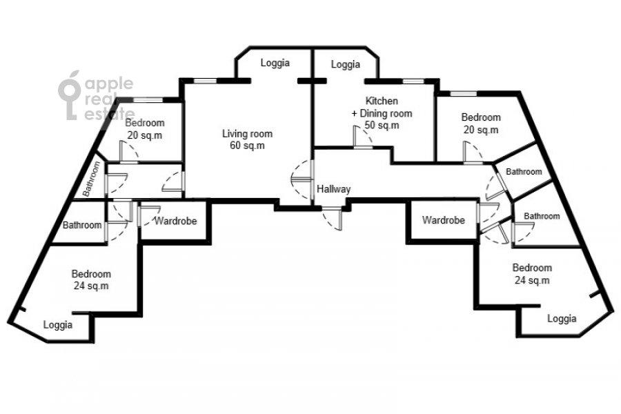 Floor plan of the 6-room apartment at Serpukhovskiy Val 21k4