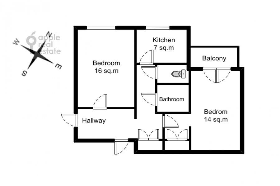 Floor plan of the 2-room apartment at Frunzenskaya naberezhnaya 50