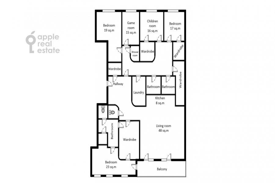 Floor plan of the 6-room apartment at Smolenskiy bul., 24k3
