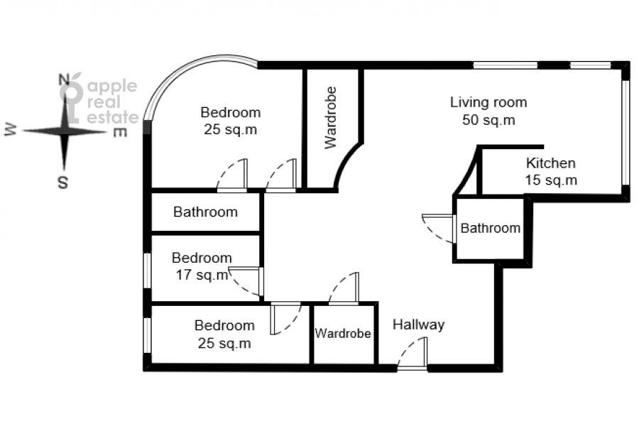 Поэтажный план 4-комнатной квартиры по адресу Островной проезд 9К1