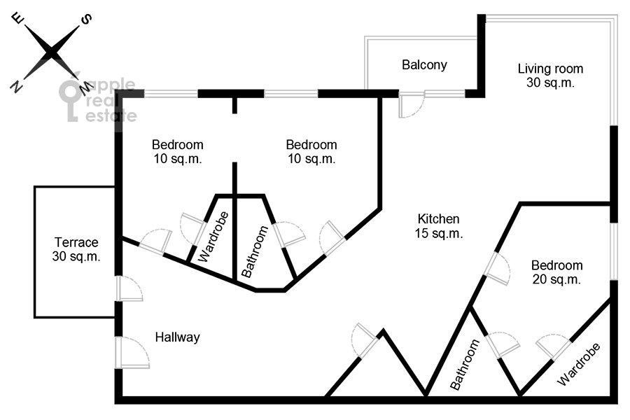 Поэтажный план 4-комнатной квартиры по адресу Островной проезд, 12К1