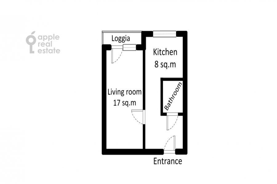 Поэтажный план 1-комнатной квартиры по адресу Троицкая улица 10с1