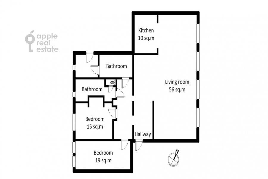 Поэтажный план 3-комнатной квартиры по адресу Тверская улица 12с8