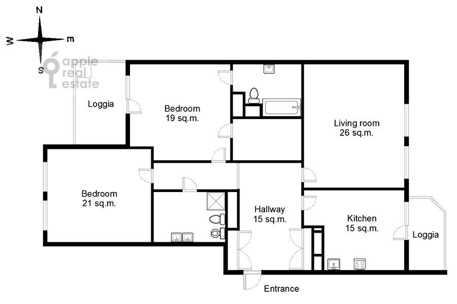 Floor plan of the 3-room apartment at Serpukhovskiy Val 21k3