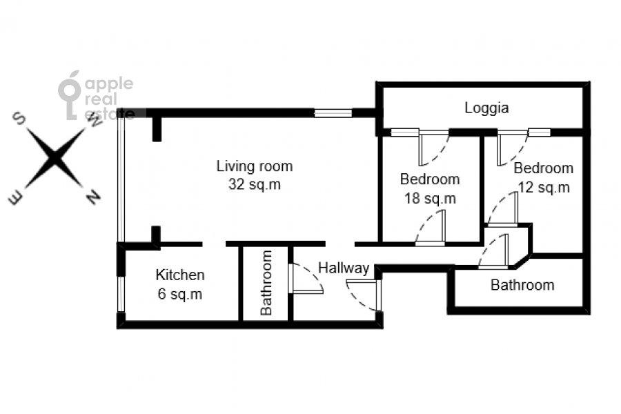 Поэтажный план 3-комнатной квартиры по адресу Гагаринский переулок 27