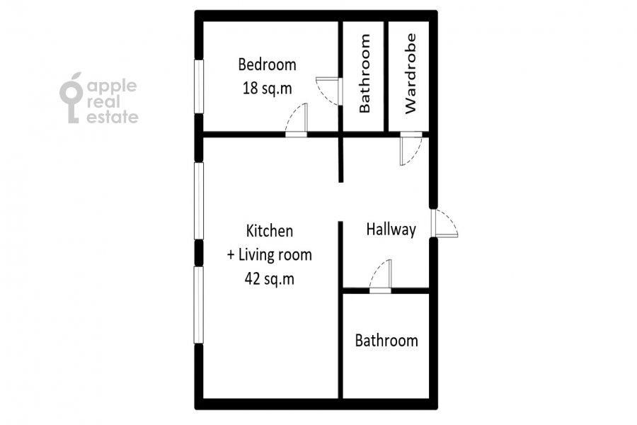 Поэтажный план 2-комнатной квартиры по адресу Новорязанская ул. 30А