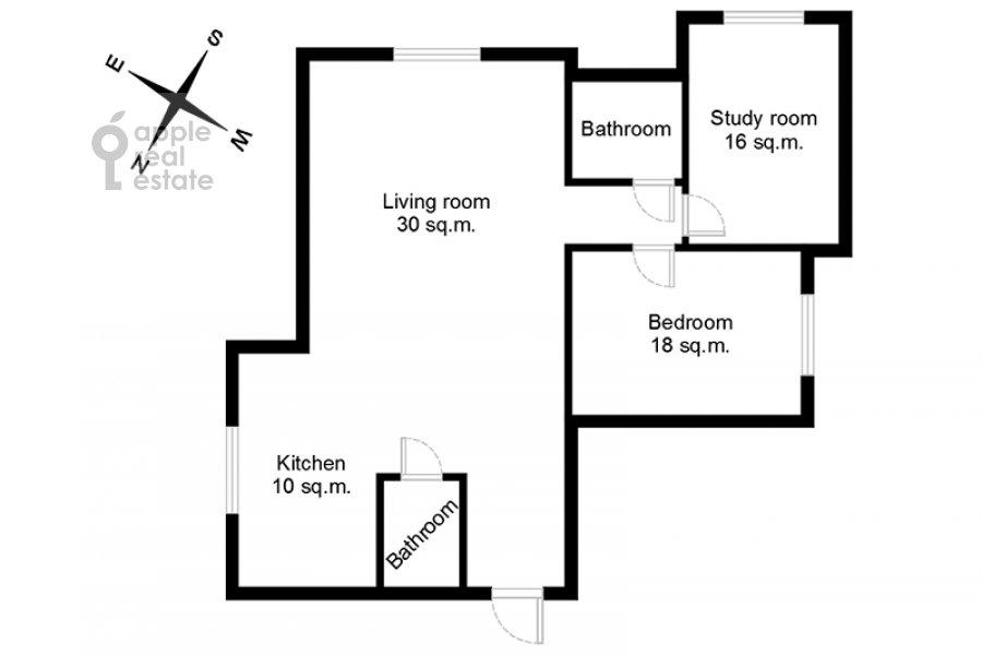 Floor plan of the 3-room apartment at Bol'shaya Yakimanka 26