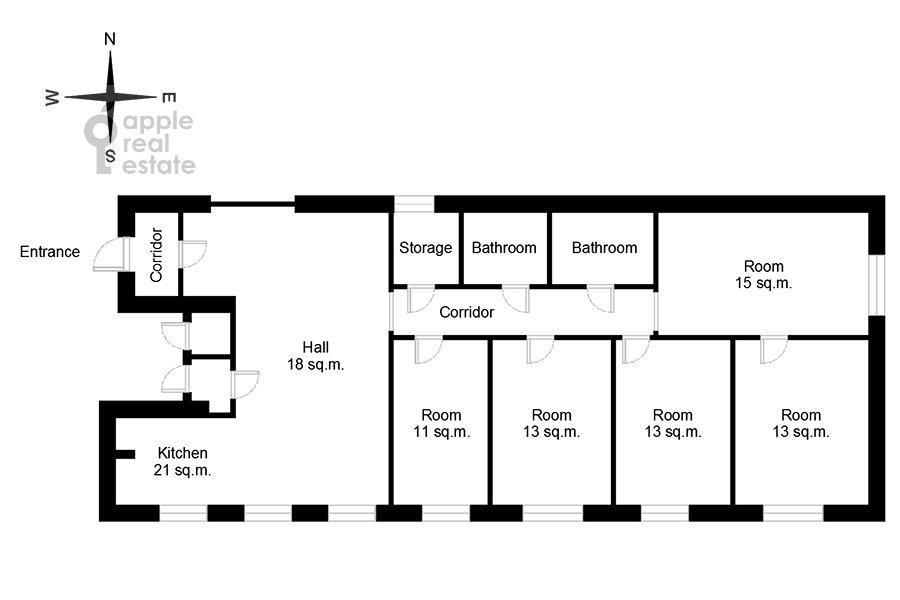 Floor plan of the 5-room apartment at Likhov pereulok 8