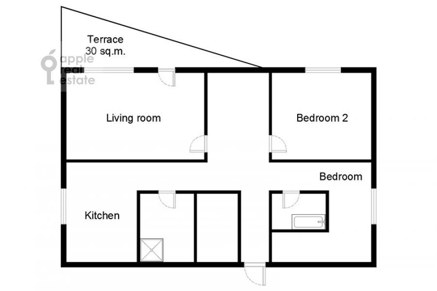 Floor plan of the 3-room apartment at Rublevskoe shosse 101