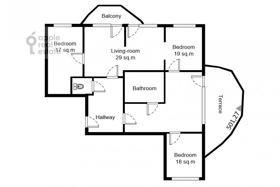 Поэтажный план 4-комнатной квартиры по адресу Карамышевская набережная 62к1
