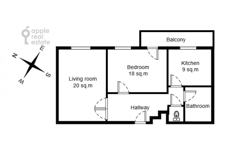 Поэтажный план 2-комнатной квартиры по адресу Большой Афанасьевский переулок 25