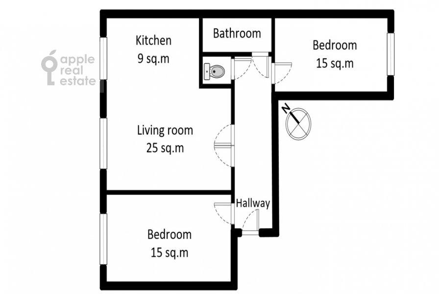 Поэтажный план 3-комнатной квартиры по адресу Лесная улица 63с1