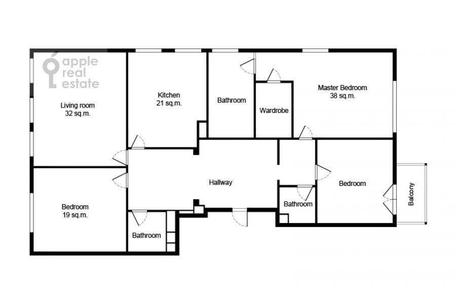 Floor plan of the 4-room apartment at Trubetskaya ulitsa 12