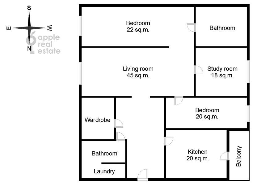 Floor plan of the 4-room apartment at Podsosenskiy pereulok 3