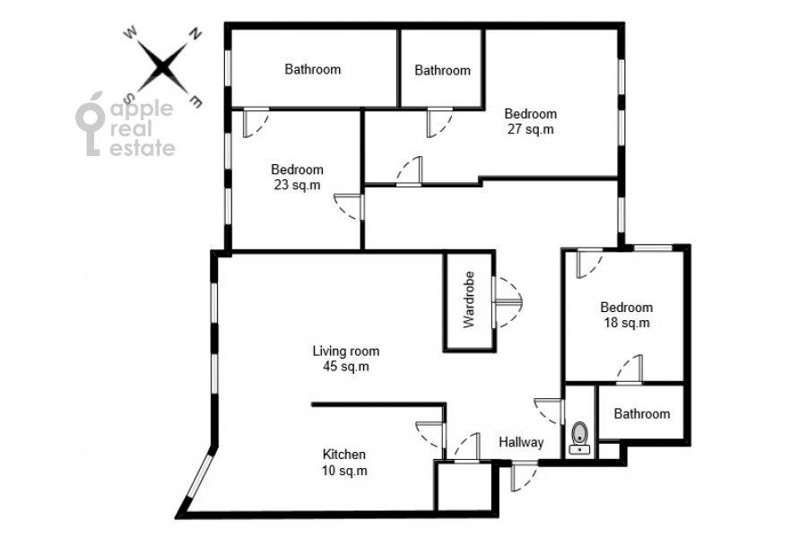 Поэтажный план 4-комнатной квартиры по адресу 4-я Тверская-Ямская улица 22