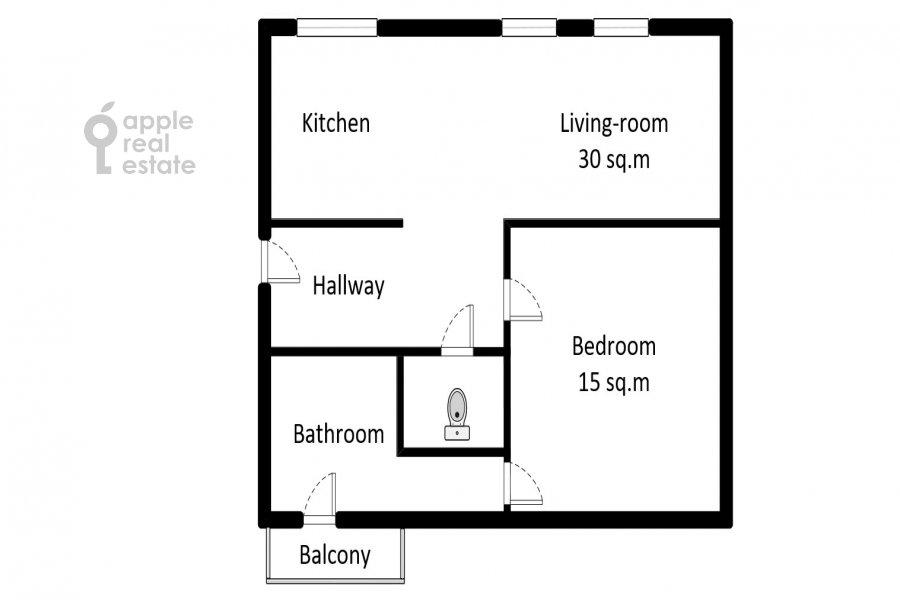 Поэтажный план 2-комнатной квартиры по адресу Остоженка 1/9