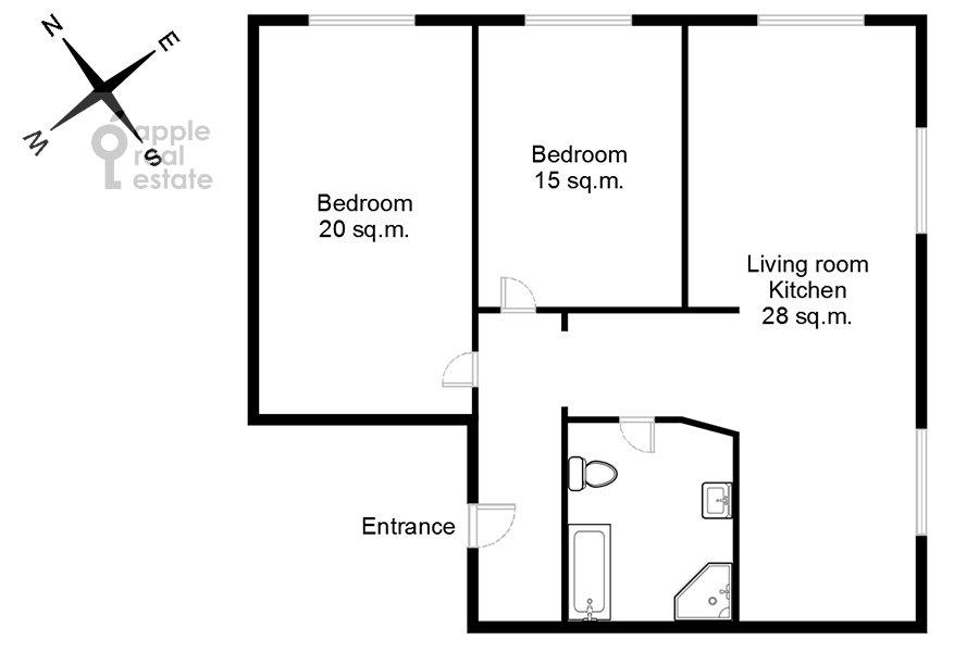 Поэтажный план 3-комнатной квартиры по адресу Ленинский проспект 20