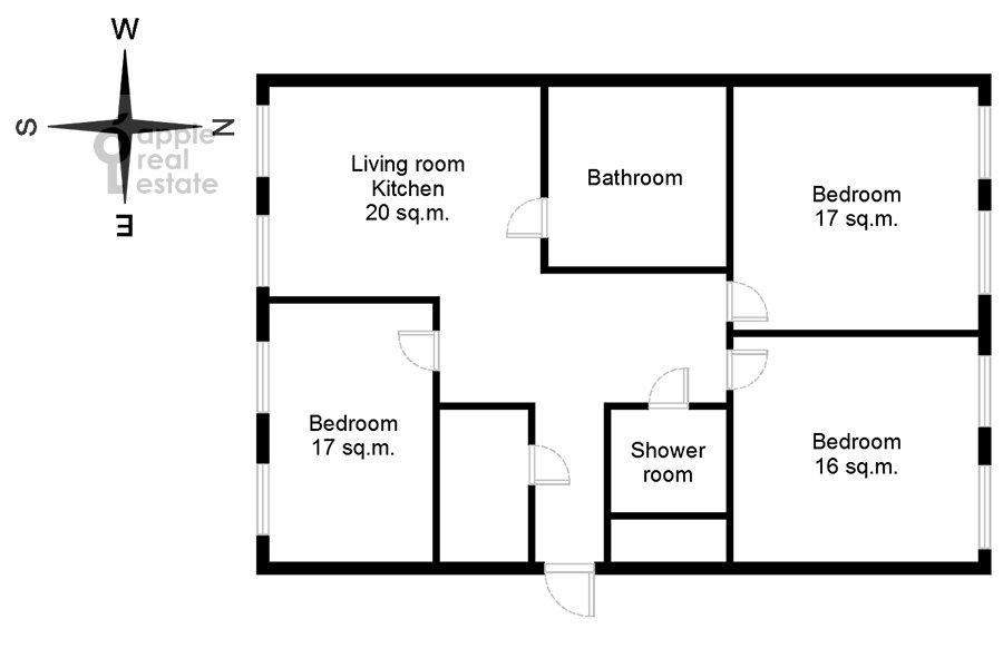 Floor plan of the 4-room apartment at 3-ya Khoroshevskaya ulitsa 25k4