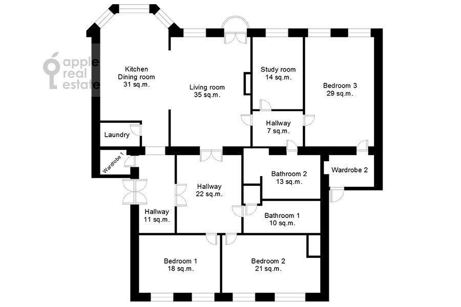 Поэтажный план 5-комнатной квартиры по адресу Сретенский бульвар 6/1к1