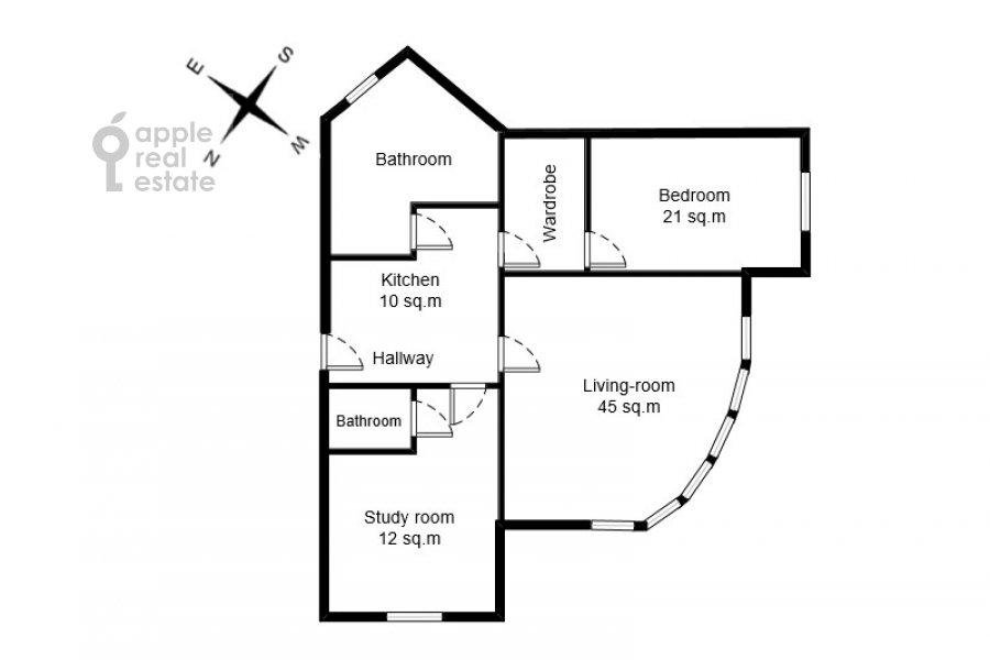Поэтажный план 3-комнатной квартиры по адресу Большая Грузинская улица 37С2