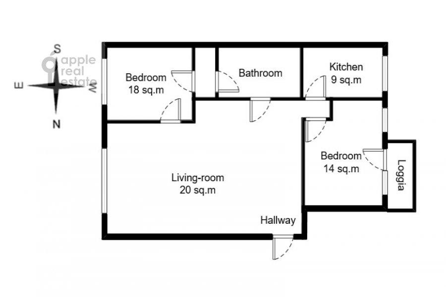 Floor plan of the 3-room apartment at Frunzenskaya naberezhnaya 46