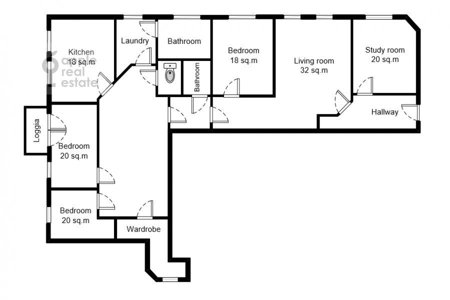 Floor plan of the 4-room apartment at Nikitskiy bul'var 12