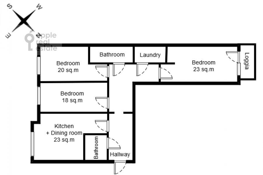 Floor plan of the 4-room apartment at Mytnaya ulitsa 7s1