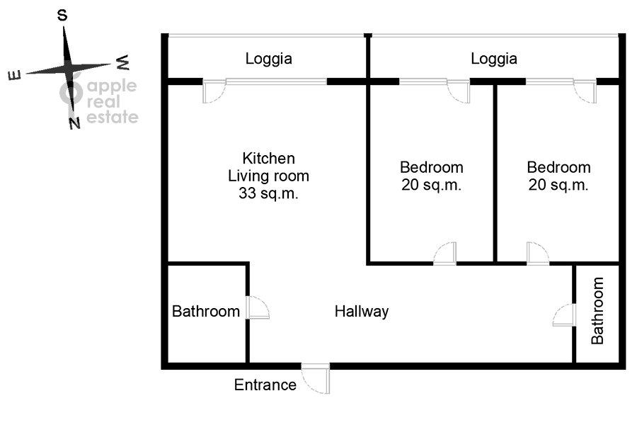 Floor plan of the 3-room apartment at ulitsa Presnenskiy Val 16S3