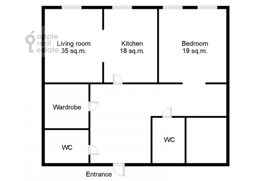 Floor plan of the 2-room apartment at Leninskiy prospekt 106k1