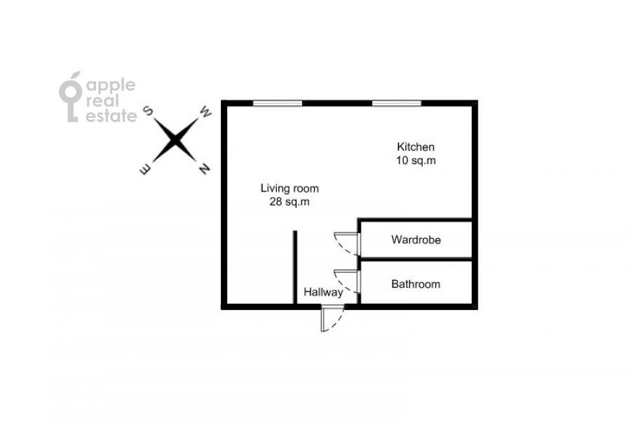 Поэтажный план квартиры-студии по адресу переулок Красина 16с1
