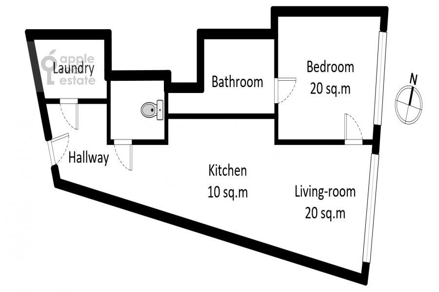 Поэтажный план 2-комнатной квартиры по адресу Новый Арбат 32