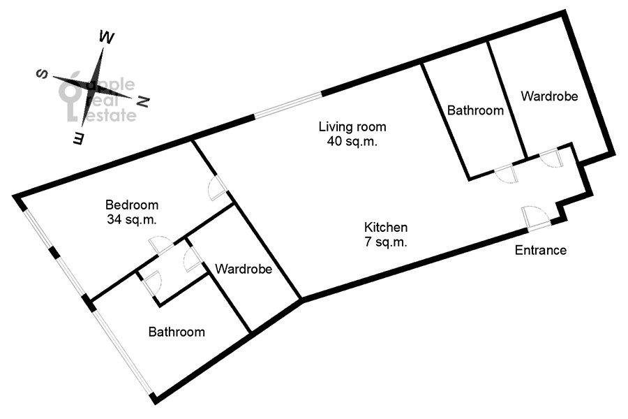 Floor plan of the 2-room apartment at Novyy Arbat 32
